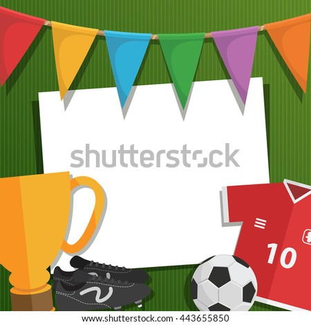football soccer greeting card decoration with bunting, objects and card for text