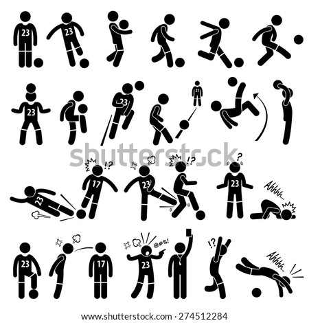 Football Soccer Player Footballer Actions Poses Stick Figure Pictogram Icons - stock vector