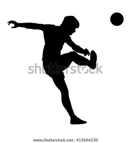 football soccer player in action, vector silhouette isolated white background