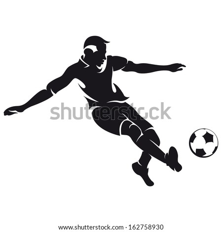 football (soccer) player silhouette with ball isolated  - stock vector
