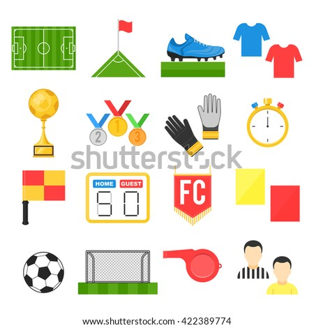 Football soccer sign set. Vector illustration flat style isolated icons on white background - stock vector