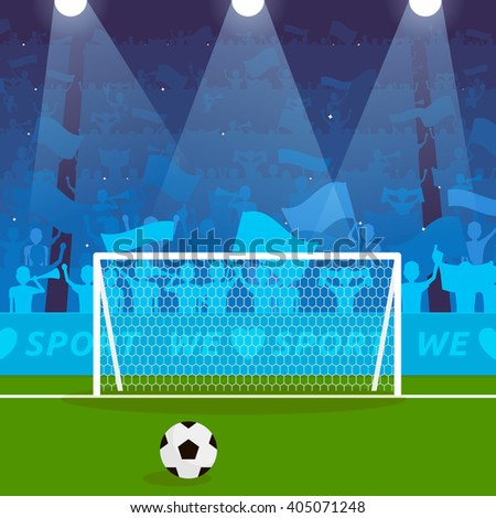 Football Soccer Stadium Grandstand with Excited Fans, Goal and Ball - stock vector