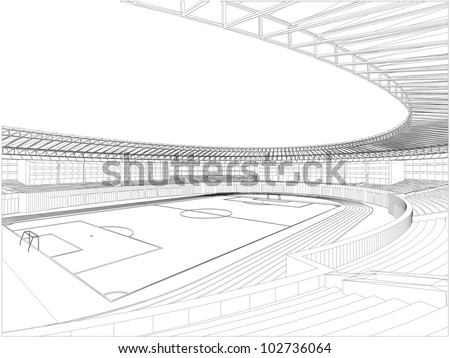 Football Soccer Stadium Vector 07 - stock vector