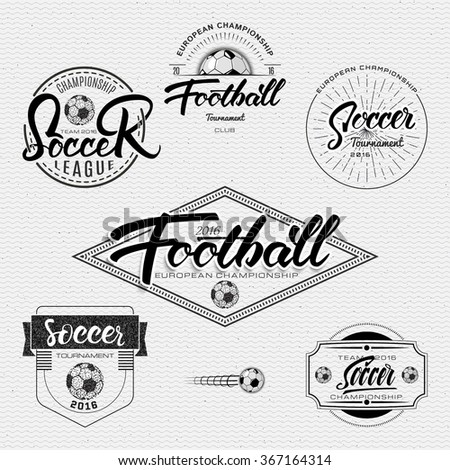 Football, Soccer tournament, championship, league Hand lettering badges labels can be used for design, presentations, brochures, flyers, sports equipment, corporate identity, sales - stock vector