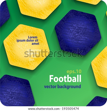 football (soccer) vector background in the colors of the Brazilian flag, cover. Eps10. - stock vector