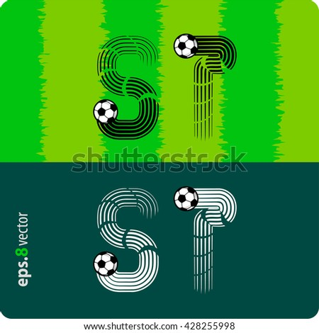 """Football (soccer) vector set of letters """"S"""",""""T"""" in the form of splines flight a soccer ball.eps8 - stock vector"""