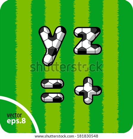 Football (soccer) vector set of letters. The lowercase letters y, z and equal, plus. Eps 8. The rest of uppercase and lowercase letters, symbols and numbers of the alphabet in my portfolio. - stock vector