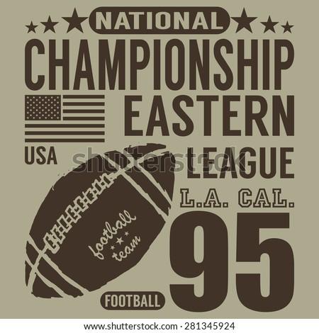 Football sport typography, t-shirt Printing design graphics, vector poster, Badge Applique Label. - stock vector