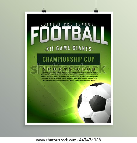 Vector Sports Brochure Flyer Template Design Stock Vector