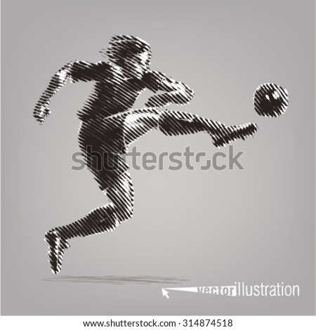 Football striker. Vector artwork in the style of ink drawing - stock vector