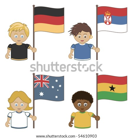 football supporters with flags, germany, serbia, australia and ghana