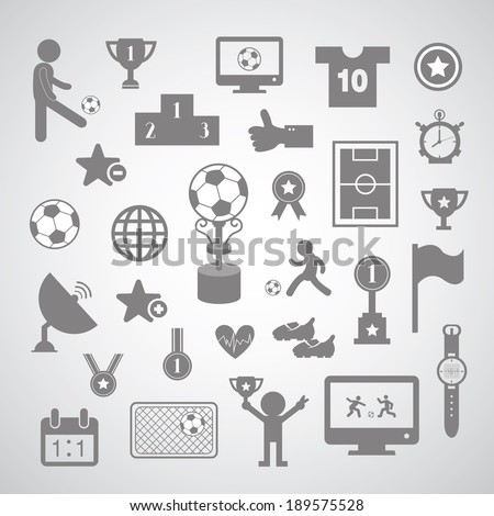 football symbol set on gray background  - stock vector