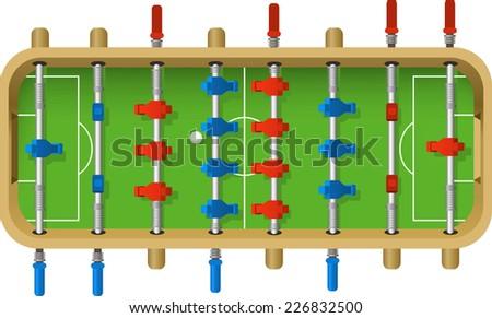 Football Table vector illustration. Table top game, kicker, bar football, table soccer, - stock vector