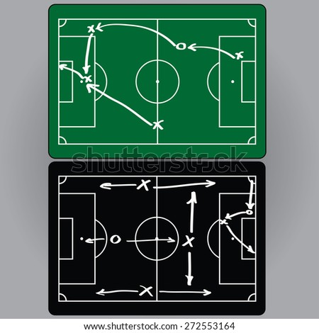 Football tactics and movement of players, charts, infographics. vector - stock vector