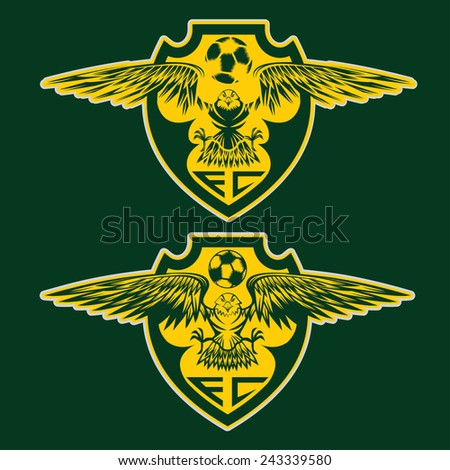 football team crests set with eagles vector design template - stock vector