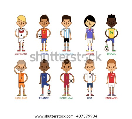 Football team sport soccer players group vector illustration. Football teams men league and teamwork goal play action football teams. Football european teams action uniform.
