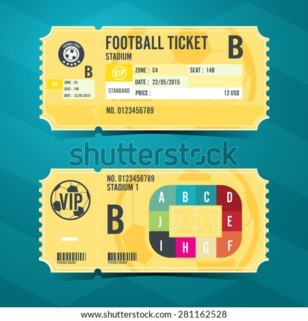 Football ticket card retro design. Vector illustration - stock vector