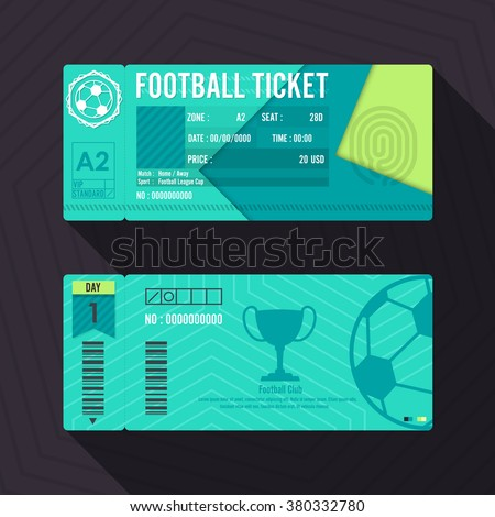 Football Ticket Material Design. Vector illustration. - stock vector