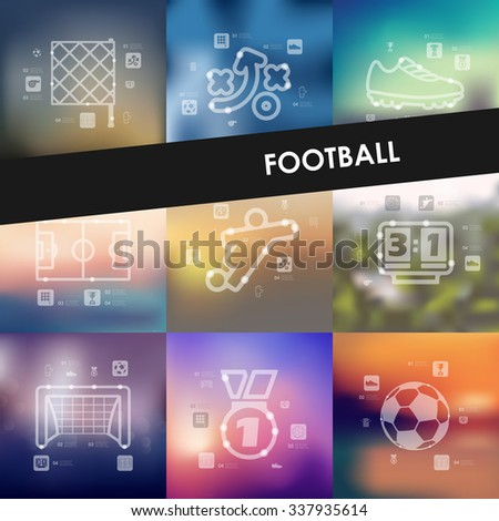 football timeline presentations with blurred unfocused background - stock vector