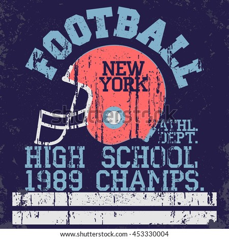 football typography, t-shirt stamp graphics, vintage sport wear tee print design
