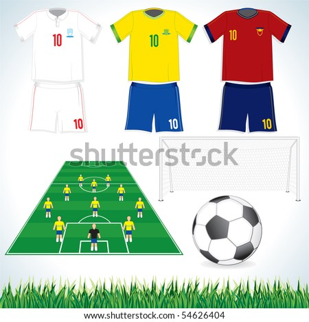 Football vector illustrations of Soccer tactic field, Ball, Gate and Uniforms