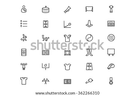 Football Vector Line Icons 3 - stock vector