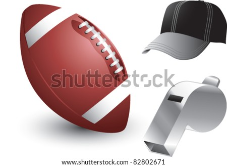 Football, whistle, and cap on white background - stock vector