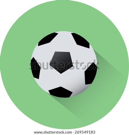 Football with long shadows. Flat style of vector illustration