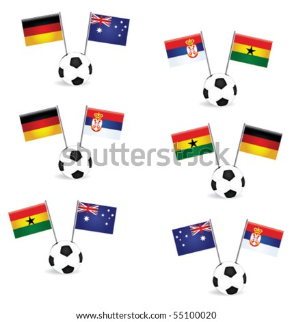football  with national flags - stock vector