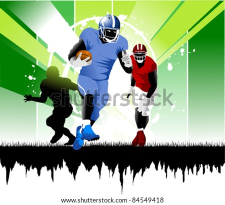 footballer on the line of attack does pass the ball; - stock vector