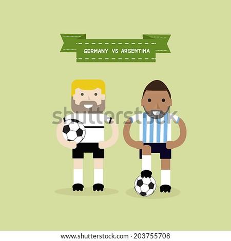 Footballers, soccer players. Germany Vs Argentina,Brazil.Vector. - stock vector