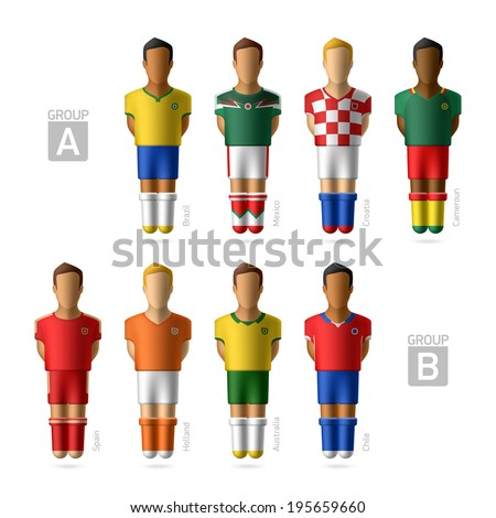 Footballers, soccer players. Group A and B - Brazil 2014. Vector. - stock vector