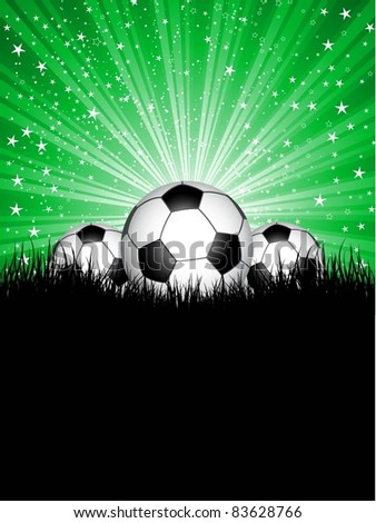 Footballs in grass against a green star burst background