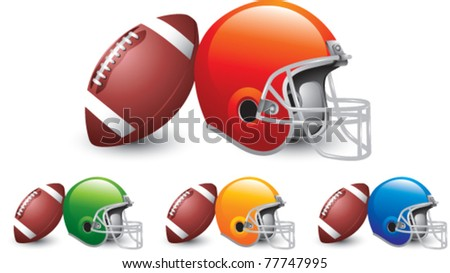 Footballs leaning against multiple colored football helmets