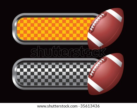 footballs on diamond checkered banners