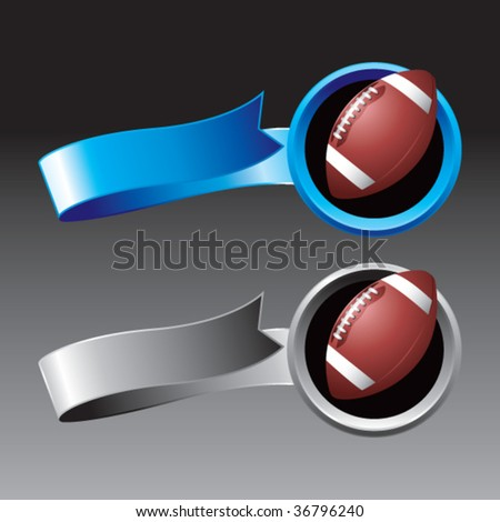 footballs on ribbon banners colored blue - stock vector