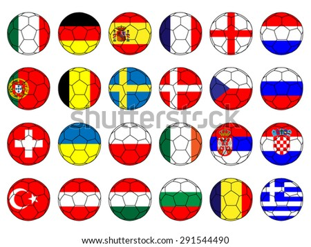 Footballs with Flags of Europe with Coat of Arms - stock vector