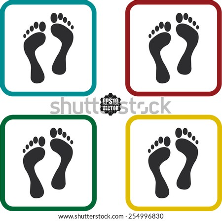 Footprint Symbols And Icon Set On White Background And Colorful Border. Vector illustration. - stock vector