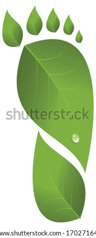 Footprint was made from leaves. Drop of water on one of leaves. Vector illustration - stock vector
