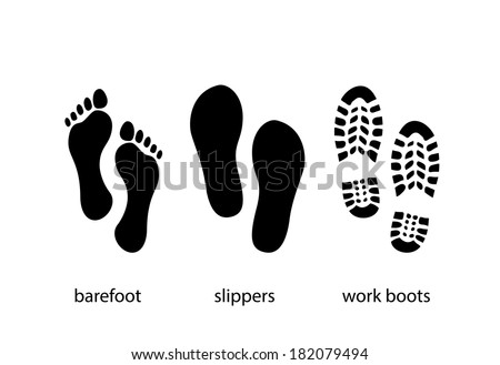 Footprint, work boots and slippers print - illustration - stock vector