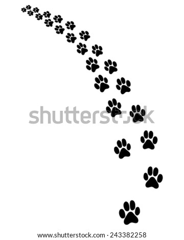 Footprints of dog, turn left, vector - stock vector