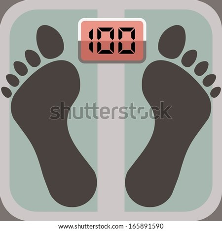 footprints on bathroom scale, scale display shows 100 - stock vector