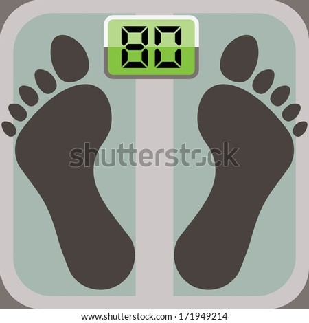 footprints on bathroom scale, scale display shows eighty  - stock vector