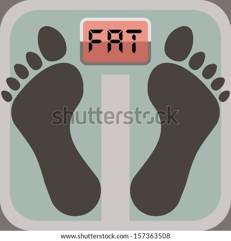 footprints on bathroom scale, scale display shows word fat - stock vector
