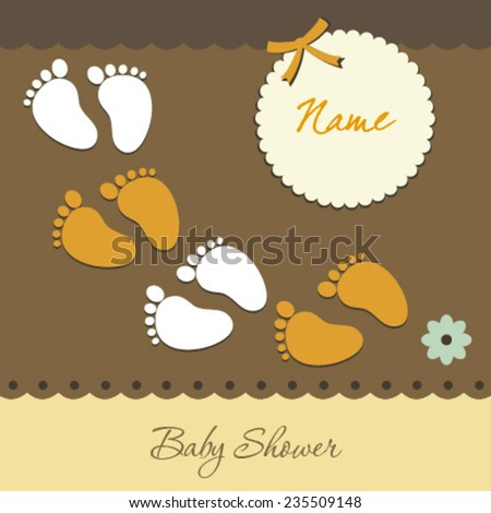 footsteps baby card - stock vector
