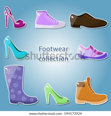 Footwear collection. Vector.