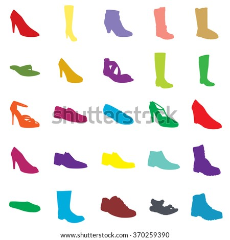 Footwear. Color footwear set footwear silhouettes. Ankle boot, biker boot, business shoe, heel-strap sandals, men sandal, moccasin, outdoor boots, rubber boots, sandals, snow boots, trainers, footwear - stock vector