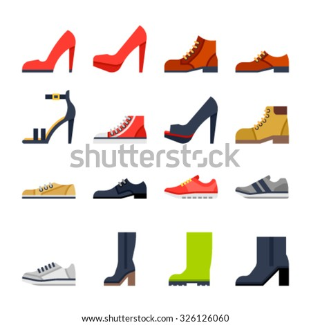 Footwear flat icons. colorfull shoes. - stock vector