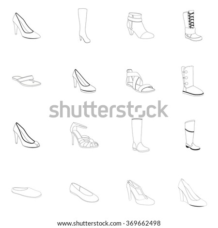 Footwear. Woman's footwear set, outline footwear. Names: ankle boot, ballerina, flip-flop, heel-strap sandals, footwear, peep toes, plateau pumps, pumps, snow boots, thigh-boots, T-strap, footwear - stock vector