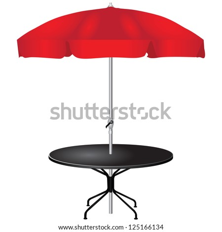 For an outdoor coffee table with an umbrella. Vector illustration. - stock vector